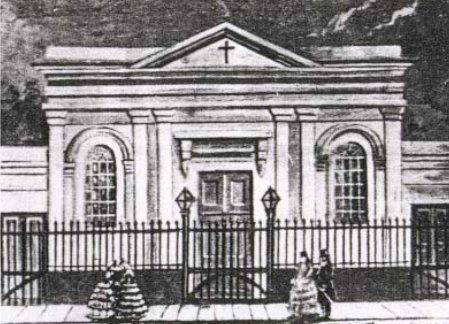 Dibujo del templo de la calle Cangallo
