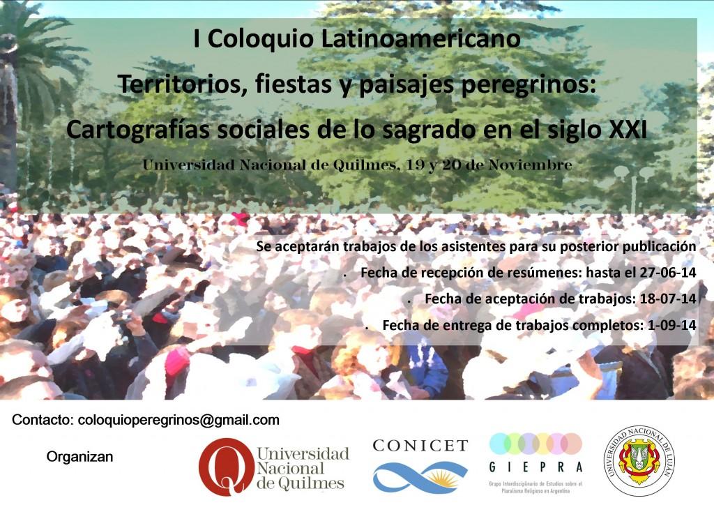 I Coloquio latinoamericano Territorios, fiestas y paisajes peregrinos: Cartografías sociales de lo sagrado en el siglo XXI